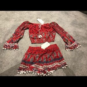 Red two piece set with gorgeous designs